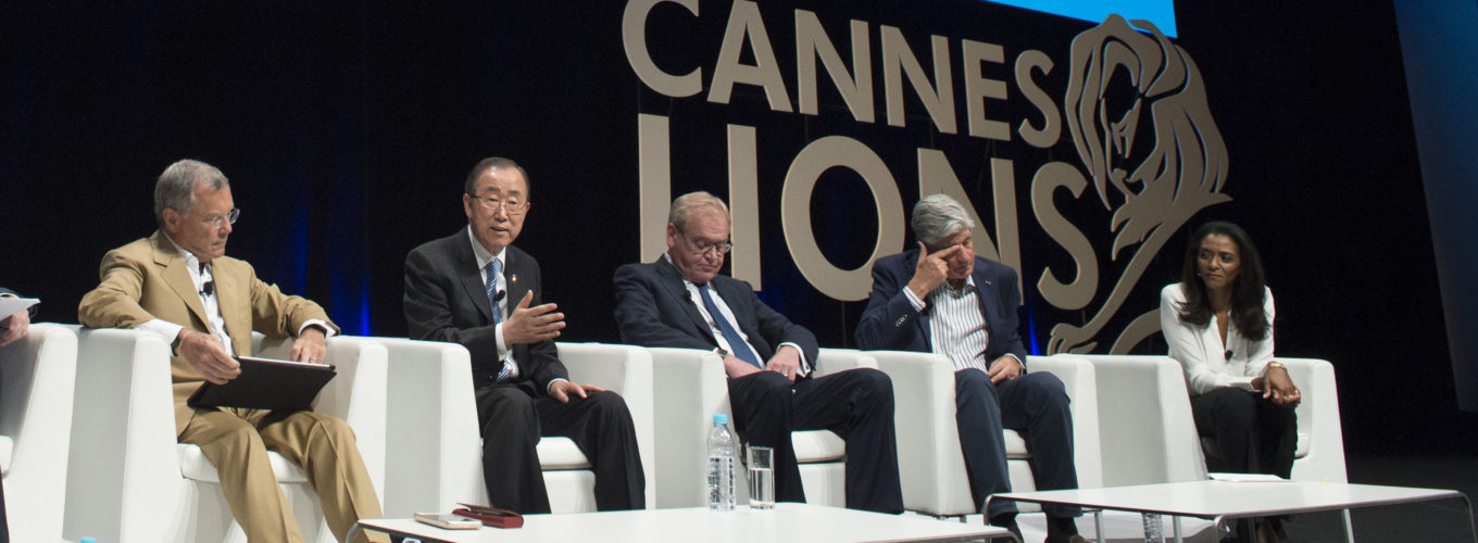 Secretary-General Ban Ki-moon at a Launch of the Common Ground Initiative with the CEOs of the Big Six Communications Groups in support of the United Nations Sustainable Development Goals.