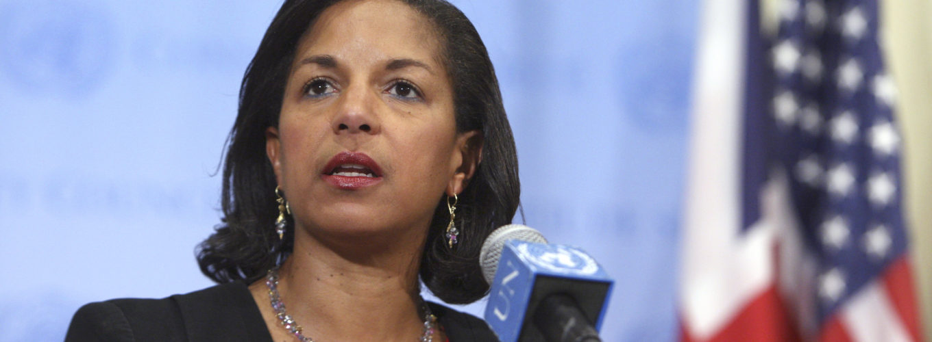 Susan Rice, Permanent Representative of the United States, addresses the press  following   Security Council Consultations on the Middle East