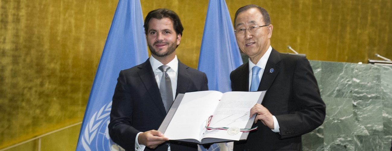 Secretary-General Ban Ki-moon accepts the instrument acceptance for the ratification of the Paris Agreement from Rafael Pacchiano Alaman, Minister for Environment and Natural Resources of MEXICO.  High-level Event on the Entry into Force of the Paris Agreement