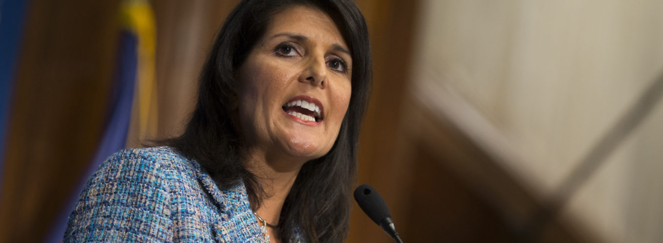 """Gov. Nikki Haley, R- S.C., delivers a speech on """"Lessons from the New South"""" during a luncheon at at the National Press Club, on Wednesday, Sept. 2, 2015, in Washington. Haley's speech comes amid speculation that she will be in contention next year as a running mate for the Republican presidential nominee.  (AP Photo/Evan Vucci)"""